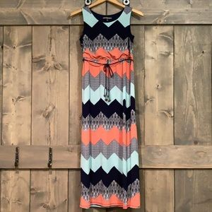 Three Pink Hearts Navy/coral/aqua maxi dress 16